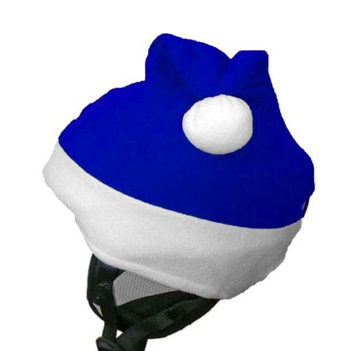 Kék Mikulás sapka 3D sisakhuzat oldalról